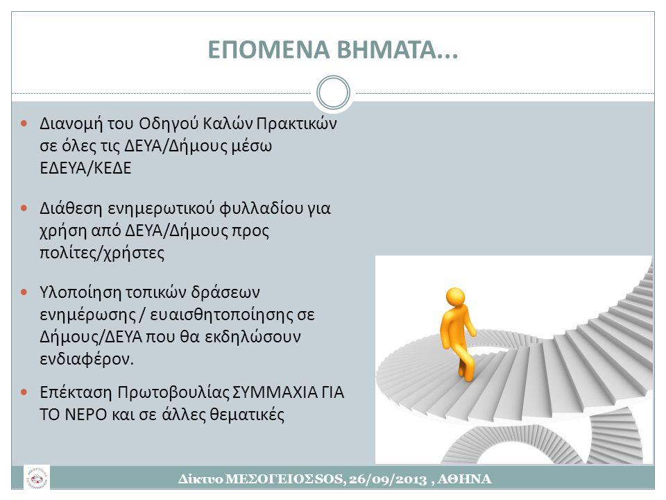 ΕΠΟΜΕΝΑ ΒΗΜΑΤΑ...  Διανομή του Οδηγού Καλών Πρακτικών σε όλες τις ΔΕΥΑ/Δήμους μέσω ΕΔΕΥΑ/ΚΕΔΕ  Διάθεση ενημερωτικού φυλλαδίου για χρήση από ΔΕΥΑ/Δήμ