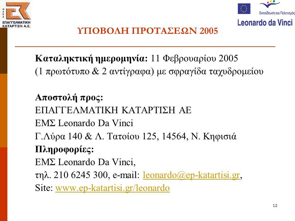 12 ΥΠΟΒΟΛΗ ΠΡΟΤΑΣΕΩΝ 2005 Καταληκτική ημερομηνία: 11 Φεβρουαρίου 2005 (1 πρωτότυπο & 2 αντίγραφα) με σφραγίδα ταχυδρομείου Αποστολή προς: ΕΠΑΓΓΕΛΜΑΤΙΚΗ ΚΑΤΑΡΤΙΣΗ ΑΕ ΕΜΣ Leonardo Da Vinci Γ.Λύρα 140 & Λ.