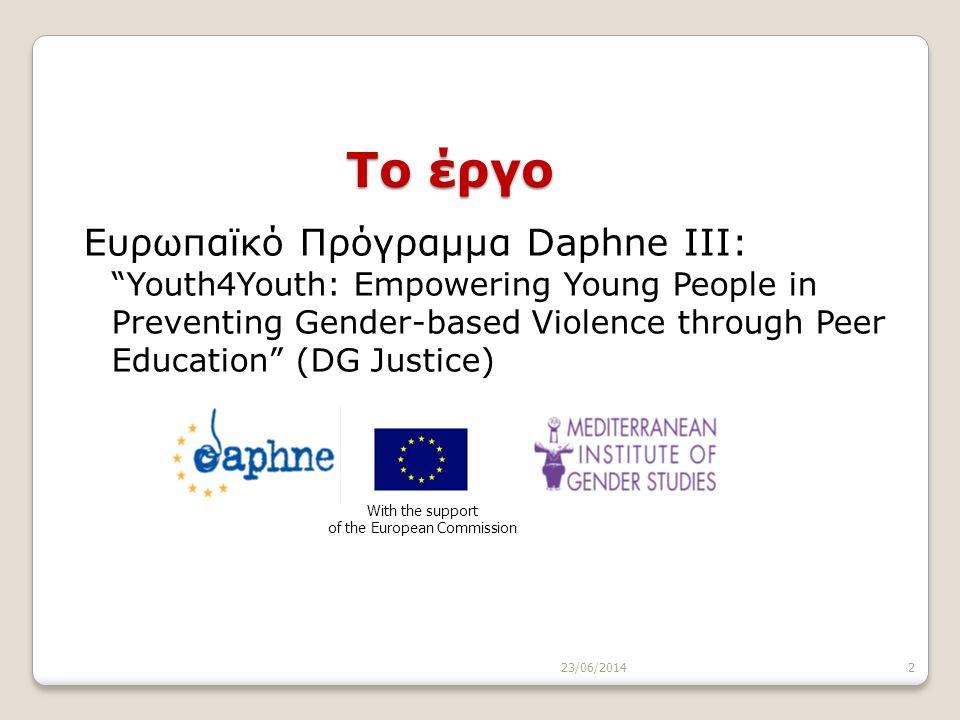 """23/06/20142 Το έργο Ευρωπαϊκό Πρόγραμμα Daphne III: """"Youth4Youth: Empowering Young People in Preventing Gender-based Violence through Peer Education"""""""
