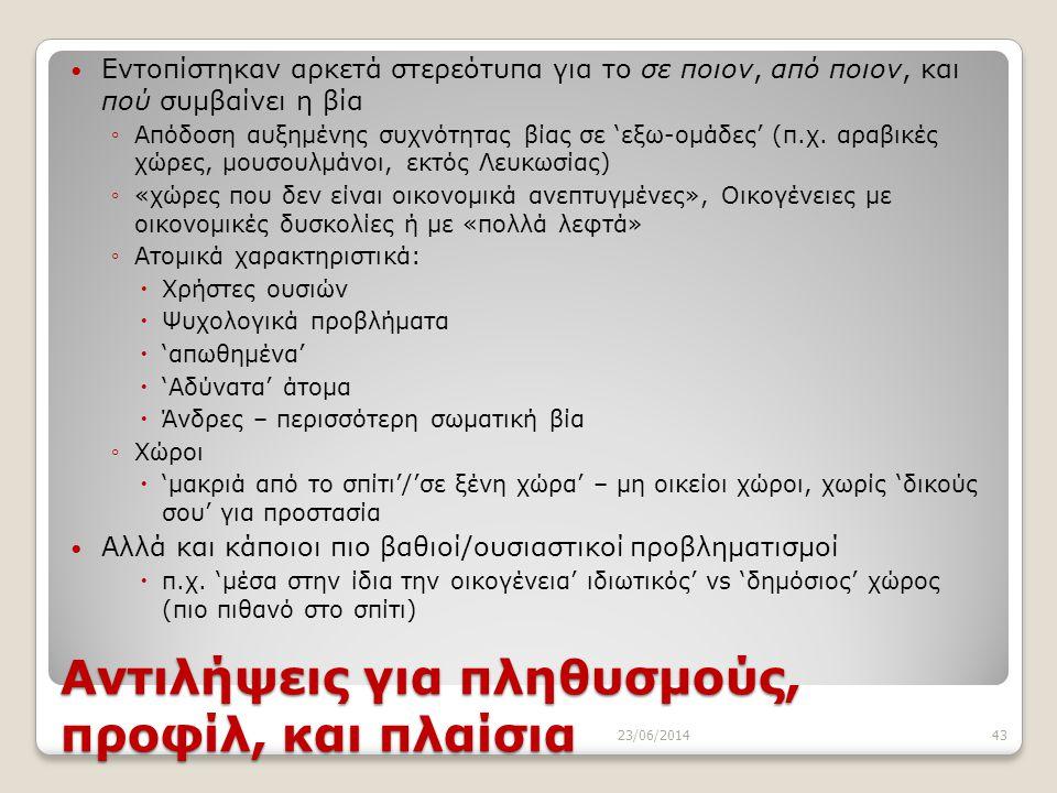 Αντιλήψεις για πληθυσμούς, προφίλ, και πλαίσια 23/06/201443  Εντοπίστηκαν αρκετά στερεότυπα για το σε ποιον, από ποιον, και πού συμβαίνει η βία ◦Απόδ