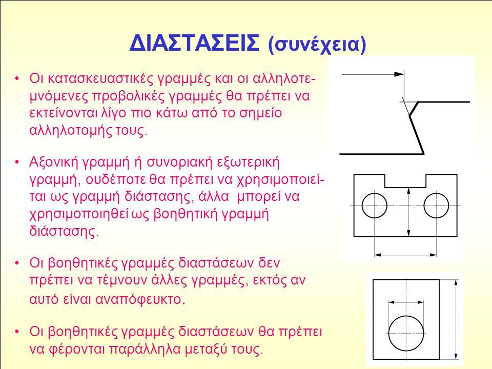 ΔΙΑΣΤΑΣΕΙΣ (συνέχεια) • Οι κατασκευαστικές γραμμές και οι αλληλοτε- μνόμενες προβολικές γραμμές θα πρέπει να εκτείνονται λίγο πιο κάτω από το σημείο α