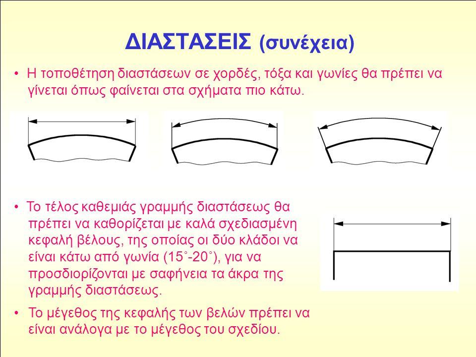 ΔΙΑΣΤΑΣΕΙΣ (συνέχεια) • Το τέλος καθεμιάς γραμμής διαστάσεως θα πρέπει να καθορίζεται με καλά σχεδιασμένη κεφαλή βέλους, της οποίας οι δύο κλάδοι να ε