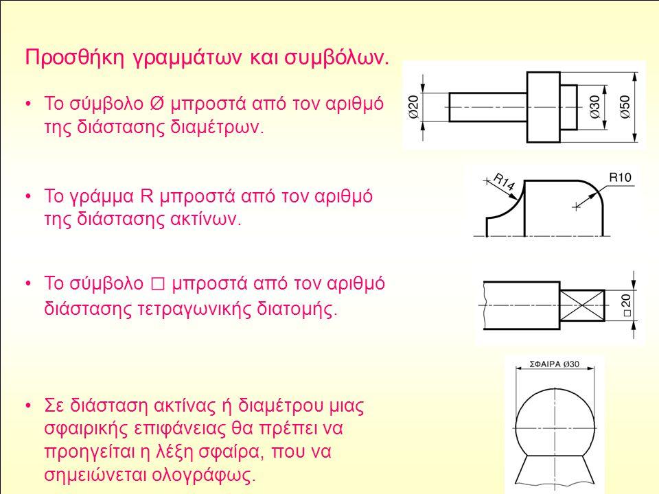 Προσθήκη γραμμάτων και συμβόλων. •Το σύμβολο Ø μπροστά από τον αριθμό της διάστασης διαμέτρων. •Το γράμμα R μπροστά από τον αριθμό της διάστασης ακτίν