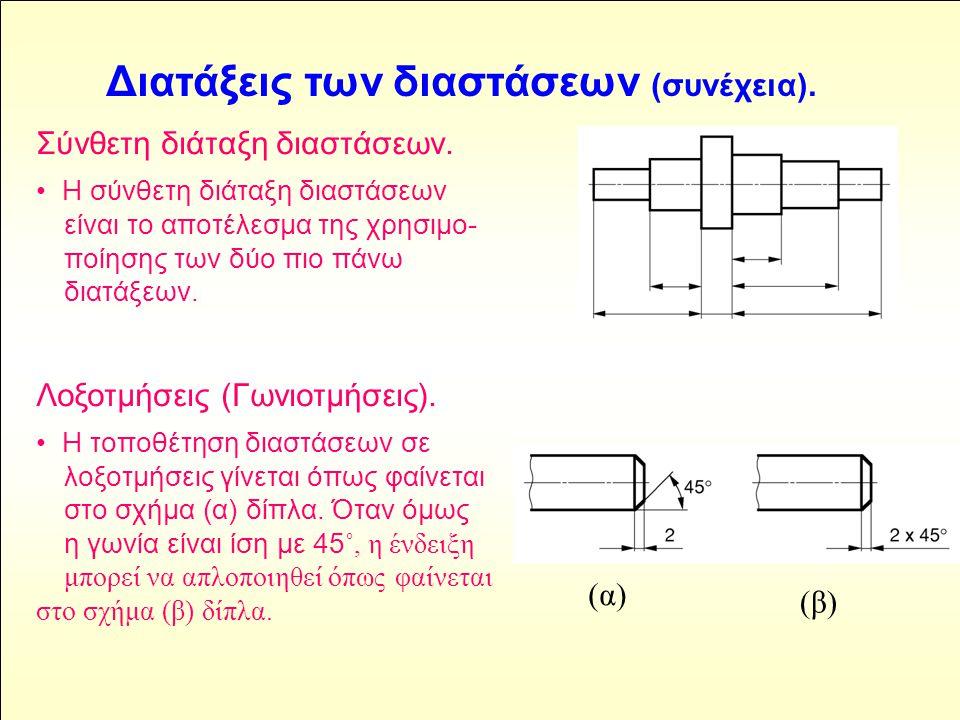 Σύνθετη διάταξη διαστάσεων. • Η σύνθετη διάταξη διαστάσεων είναι το αποτέλεσμα της χρησιμο- ποίησης των δύο πιο πάνω διατάξεων. Λοξοτμήσεις (Γωνιοτμήσ