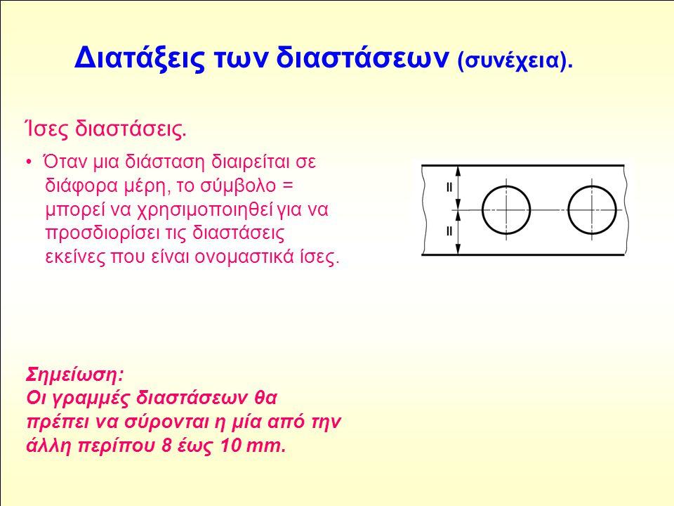 Ίσες διαστάσεις. • Όταν μια διάσταση διαιρείται σε διάφορα μέρη, το σύμβολο = μπορεί να χρησιμοποιηθεί για να προσδιορίσει τις διαστάσεις εκείνες που