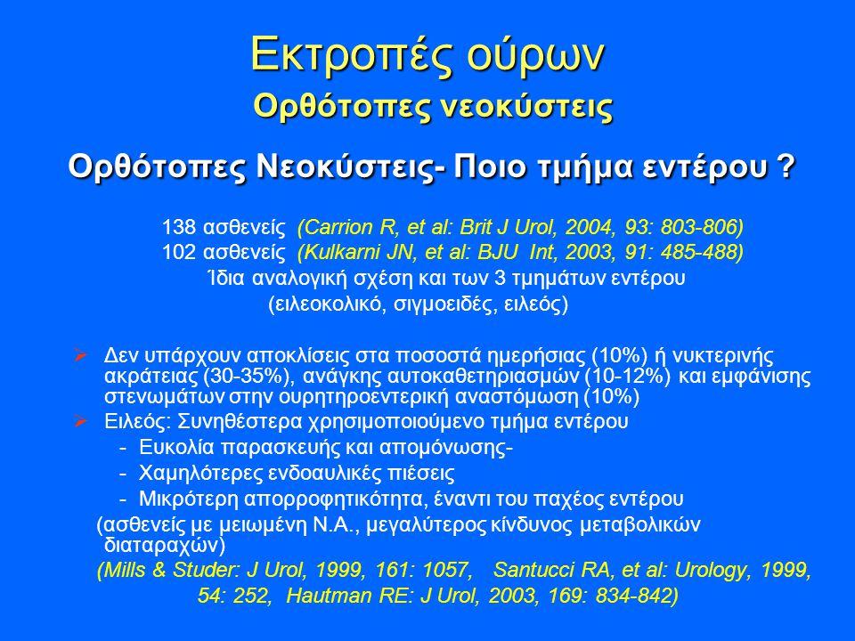 Εκτροπές ούρων Ορθότοπες νεοκύστεις Ορθότοπες Νεοκύστεις- Ποιο τμήμα εντέρου .