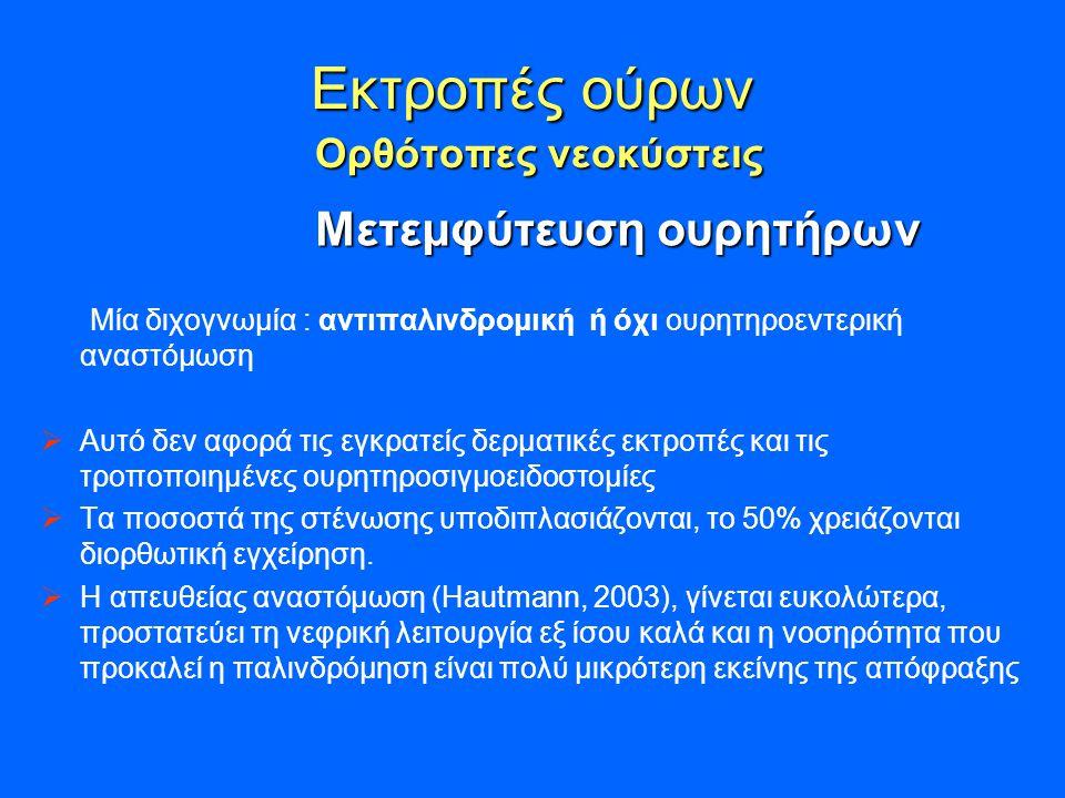 Εκτροπές ούρων Ορθότοπες νεοκύστεις Μετεμφύτευση ουρητήρων Μετεμφύτευση ουρητήρων Μία διχογνωμία : αντιπαλινδρομική ή όχι ουρητηροεντερική αναστόμωση  Αυτό δεν αφορά τις εγκρατείς δερματικές εκτροπές και τις τροποποιημένες ουρητηροσιγμοειδοστομίες  Τα ποσοστά της στένωσης υποδιπλασιάζονται, το 50% χρειάζονται διορθωτική εγχείρηση.