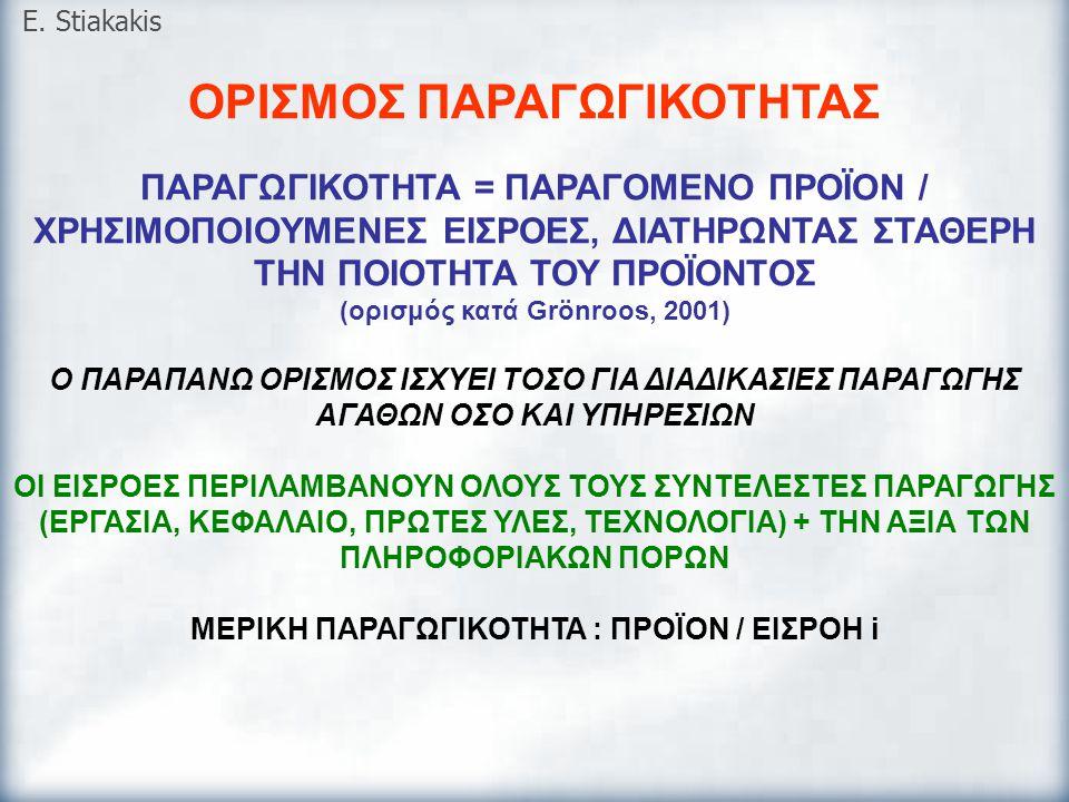ΟΡΙΣΜΟΣ ΠΑΡΑΓΩΓΙΚΟΤΗΤΑΣ ΠΑΡΑΓΩΓΙΚΟΤΗΤΑ = ΠΑΡΑΓΟΜΕΝΟ ΠΡΟΪΟΝ / ΧΡΗΣΙΜΟΠΟΙΟΥΜΕΝΕΣ ΕΙΣΡΟΕΣ, ΔΙΑΤΗΡΩΝΤΑΣ ΣΤΑΘΕΡΗ ΤΗΝ ΠΟΙΟΤΗΤΑ ΤΟΥ ΠΡΟΪΟΝΤΟΣ (ορισμός κατά G