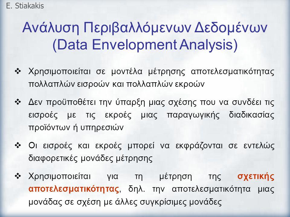 Ανάλυση Περιβαλλόμενων Δεδομένων (Data Envelopment Analysis) E. Stiakakis  Χρησιμοποιείται σε μοντέλα μέτρησης αποτελεσματικότητας πολλαπλών εισροών