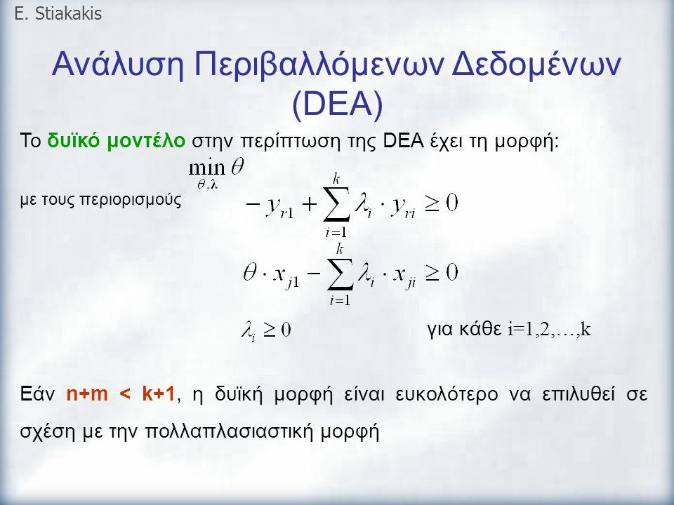 Ανάλυση Περιβαλλόμενων Δεδομένων (DEA) E. Stiakakis Το δυϊκό μοντέλο στην περίπτωση της DEA έχει τη μορφή: με τους περιορισμούς για κάθε i=1,2,…,k Εάν