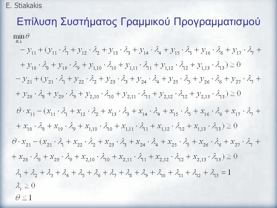 Επίλυση Συστήματος Γραμμικού Προγραμματισμού E. Stiakakis