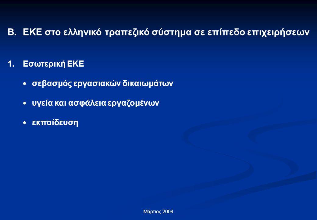 Μάρτιος 2004 Β.ΕΚΕ στο ελληνικό τραπεζικό σύστημα σε επίπεδο επιχειρήσεων 1.Εσωτερική ΕΚΕ  σεβασμός εργασιακών δικαιωμάτων  υγεία και ασφάλεια εργαζομένων  εκπαίδευση