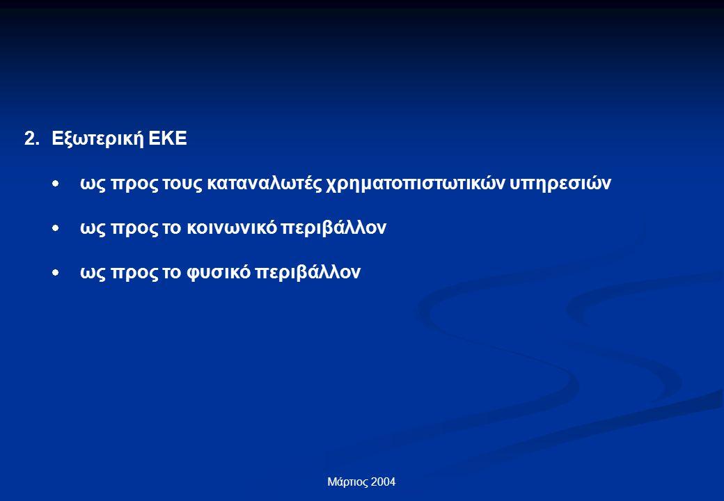 Μάρτιος 2004 2.Εξωτερική ΕΚΕ  ως προς τους καταναλωτές χρηματοπιστωτικών υπηρεσιών  ως προς το κοινωνικό περιβάλλον  ως προς το φυσικό περιβάλλον