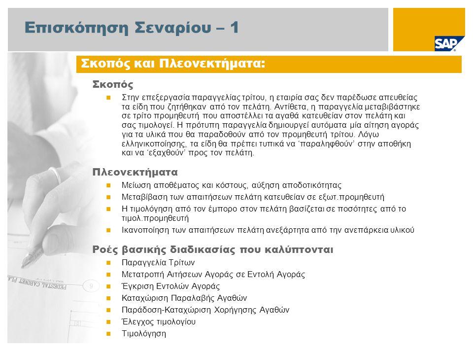 Επισκόπηση Σεναρίου – 2 Απαιτείται  Το πακέτο βελτίωσης 4 του SAP για SAP ERP 6.0 Ρόλοι εταιρίας στις ροές διαδικασίας  Διαχειριστής Πωλήσεων  Υπάλληλος Αποθήκης  Λογιστικής Εισπρακτέων Λογ/σμών  Αγοραστής  Διαχειριστής Προμηθειών  Διαχειριστής Τιμολόγησης  Λογιστής Πληρωτέων Λογ/σμών Εφαρμογές SAP που Απαιτούνται: