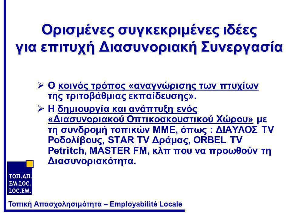 Τοπική Απασχολησιμότητα – Employabilité Locale Ορισμένες συγκεκριμένες ιδέες για επιτυχή Διασυνοριακή Συνεργασία  Ο κοινός τρόπος «αναγνώρισης των πτ