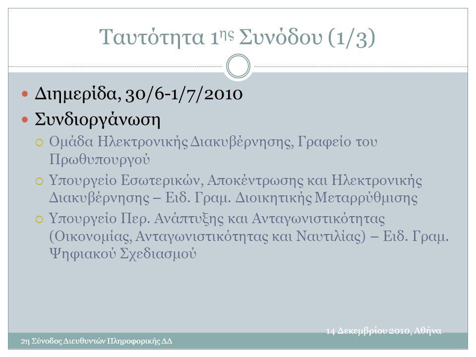 Ταυτότητα 1 ης Συνόδου (1/3) 14 Δεκεμβρίου 2010, Αθήνα 2η Σύνοδος Διευθυντών Πληροφορικής ΔΔ  Διημερίδα, 30/6-1/7/2010  Συνδιοργάνωση  Ομάδα Ηλεκτρονικής Διακυβέρνησης, Γραφείο του Πρωθυπουργού  Υπουργείο Εσωτερικών, Αποκέντρωσης και Ηλεκτρονικής Διακυβέρνησης – Ειδ.
