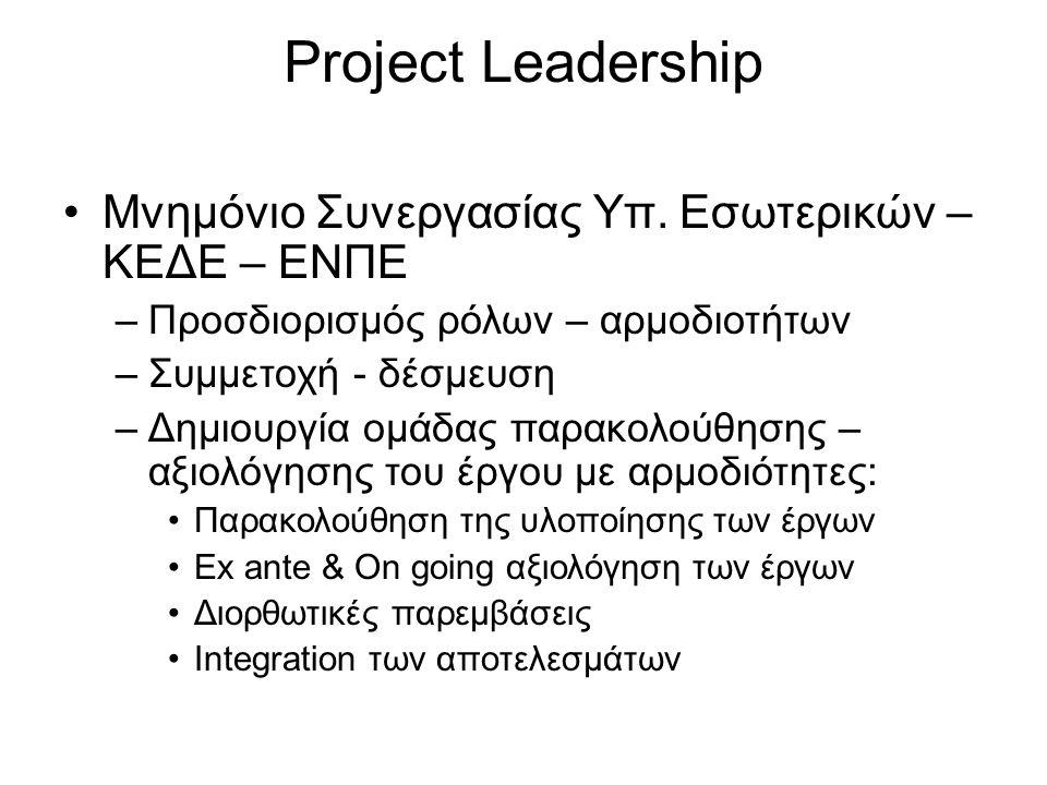 Project Leadership •Μνημόνιο Συνεργασίας Υπ. Εσωτερικών – ΚΕΔΕ – ΕΝΠΕ –Προσδιορισμός ρόλων – αρμοδιοτήτων –Συμμετοχή - δέσμευση –Δημιουργία ομάδας παρ