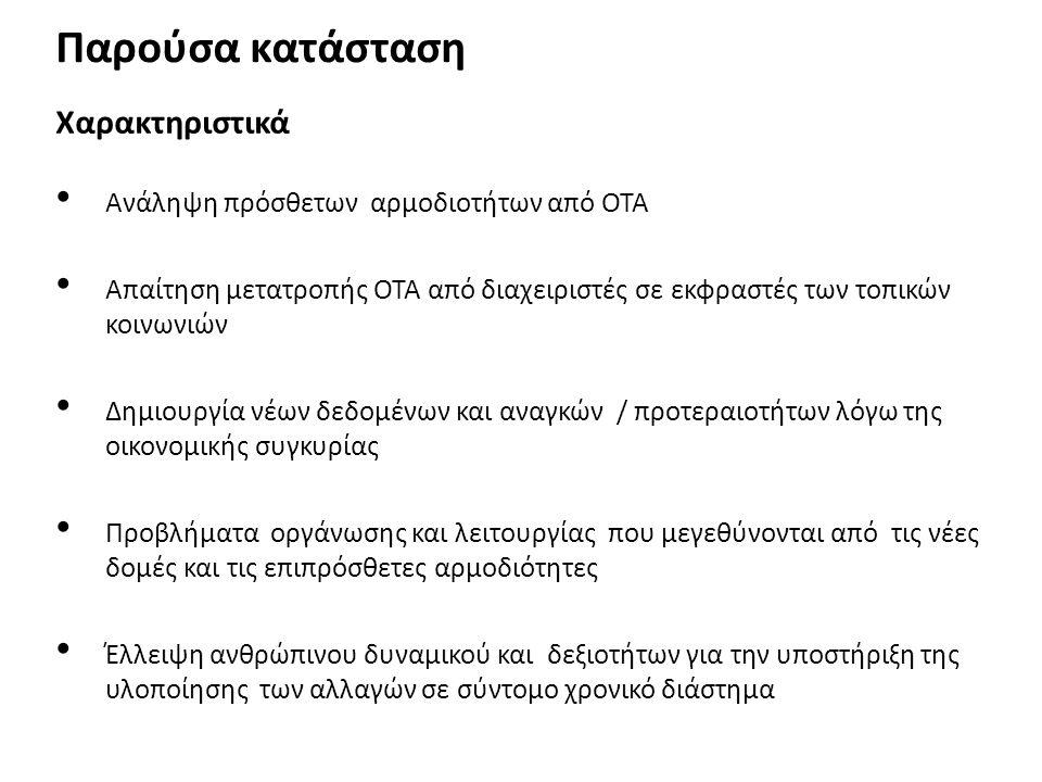 Παρούσα κατάσταση Χαρακτηριστικά • Ανάληψη πρόσθετων αρμοδιοτήτων από ΟΤΑ • Απαίτηση μετατροπής ΟΤΑ από διαχειριστές σε εκφραστές των τοπικών κοινωνιώ