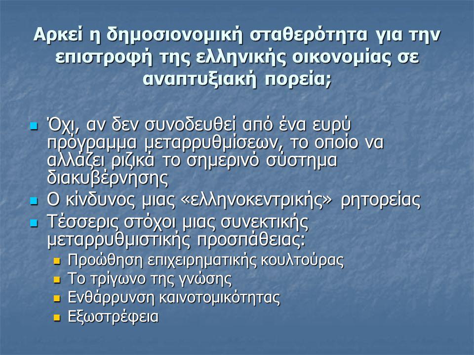 Αρκεί η δημοσιονομική σταθερότητα για την επιστροφή της ελληνικής οικονομίας σε αναπτυξιακή πορεία;  Όχι, αν δεν συνοδευθεί από ένα ευρύ πρόγραμμα με
