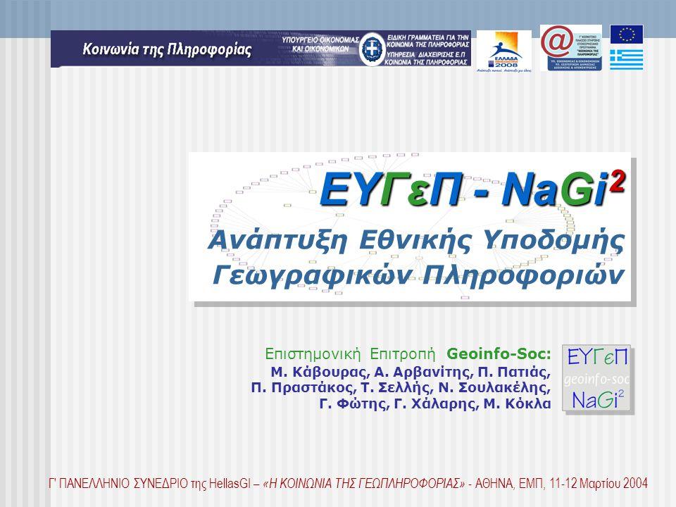 ΕΥΓεΠ - NaGi 2 ΕΥΓεΠ - NaGi 2 Ανάπτυξη Εθνικής Υποδομής Γεωγραφικών Πληροφοριών Επιστημονική Επιτροπή Geoinfo-Soc: M.