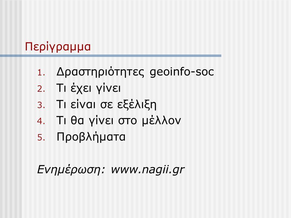 Περίγραμμα 1. Δραστηριότητες geoinfo-soc 2. Τι έχει γίνει 3.
