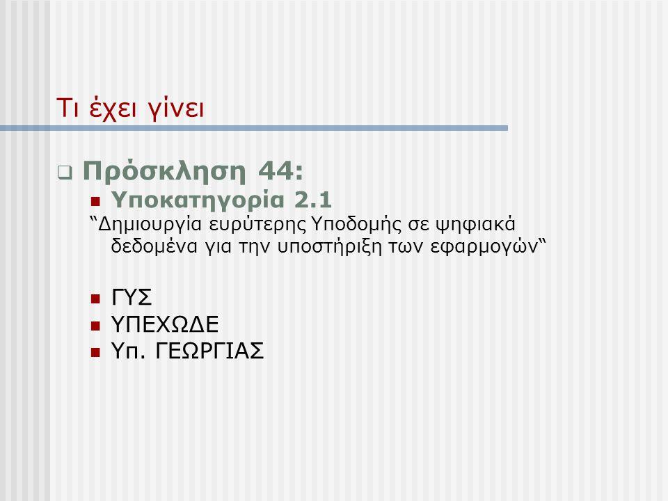Τι έχει γίνει  Πρόσκληση 44:  Υποκατηγορία 2.1 Δημιουργία ευρύτερης Υποδομής σε ψηφιακά δεδομένα για την υποστήριξη των εφαρμογών  ΓΥΣ  ΥΠΕΧΩΔΕ  Υπ.
