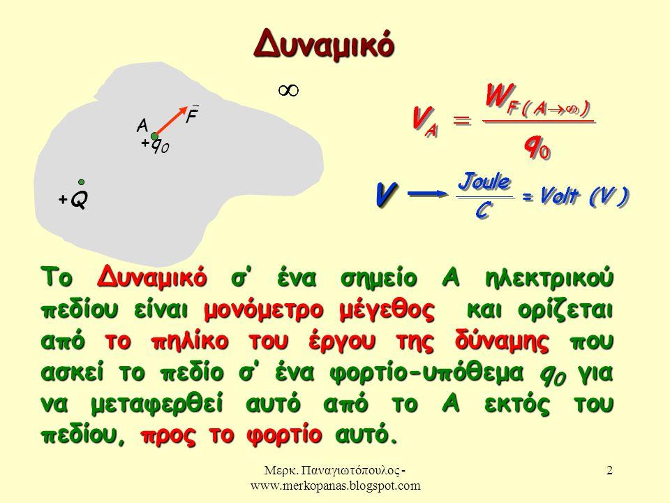 Μερκ. Παναγιωτόπουλος - www.merkopanas.blogspot.com 2 Δυναμικό +Q+Q Το Δυναμικό σ' ένα σημείο Α ηλεκτρικού πεδίου είναι μονόμετρο μέγεθος και ορίζεται