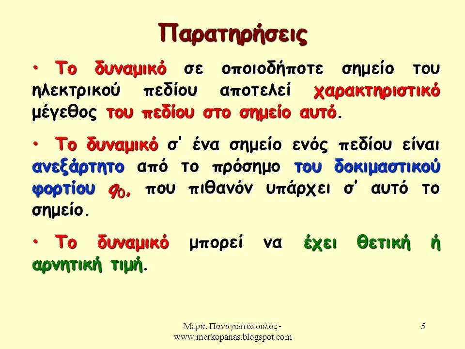 Μερκ. Παναγιωτόπουλος - www.merkopanas.blogspot.com 5 • Το δυναμικό σε οποιοδήποτε σημείο του ηλεκτρικού πεδίου αποτελεί χαρακτηριστικό μέγεθος του πε