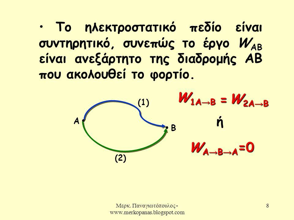 Μερκ. Παναγιωτόπουλος - www.merkopanas.blogspot.com 8 • Το ηλεκτροστατικό πεδίο είναι συντηρητικό, συνεπώς το έργο W AB είναι ανεξάρτητο της διαδρομής