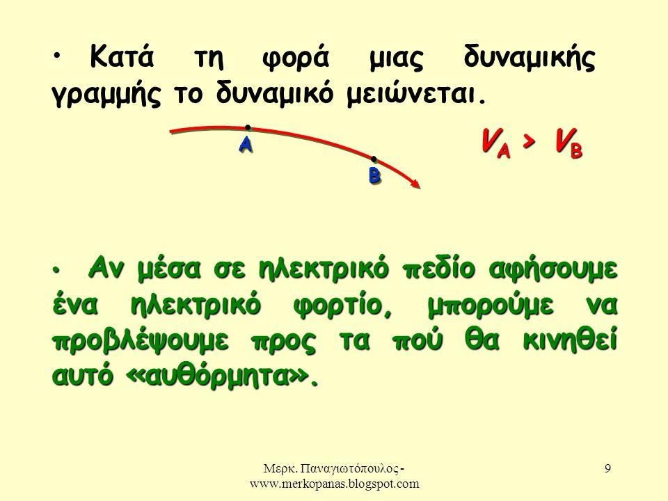Μερκ. Παναγιωτόπουλος - www.merkopanas.blogspot.com 9 • Κατά τη φορά μιας δυναμικής γραμμής το δυναμικό μειώνεται. ΑΑ ΒΒ V A > V B • Αν μέσα σε ηλεκτρ