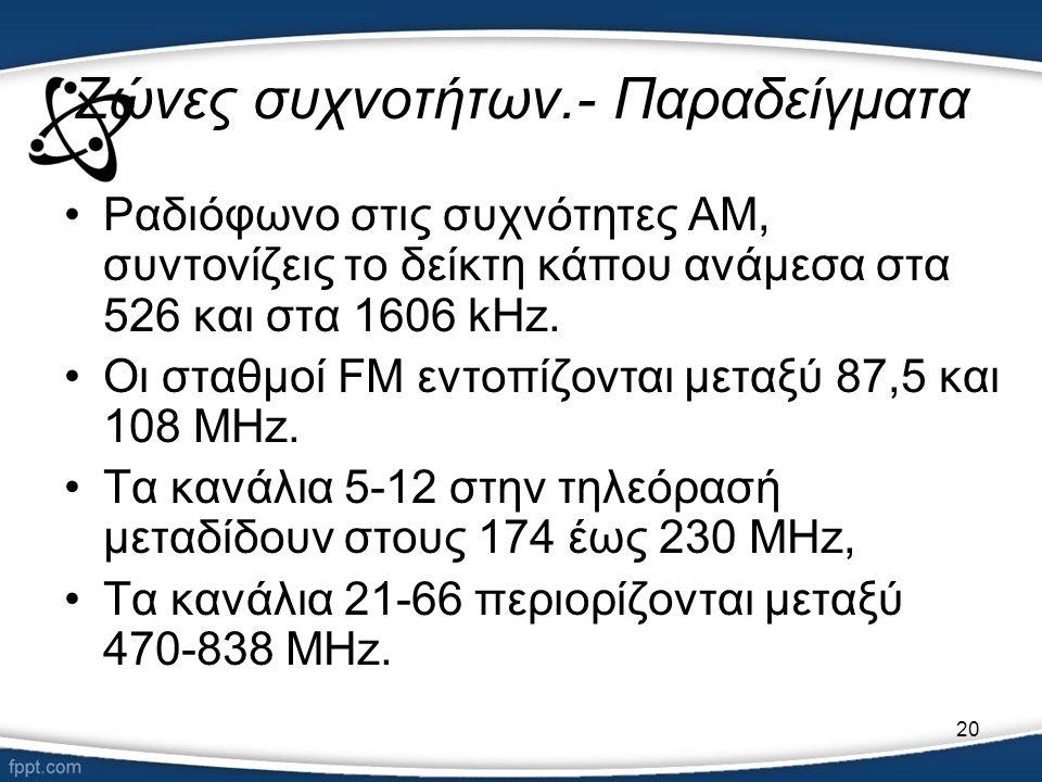 20 Ζώνες συχνοτήτων.- Παραδείγματα •Ραδιόφωνο στις συχνότητες AM, συντονίζεις το δείκτη κάπου ανάμεσα στα 526 και στα 1606 kHz. •Οι σταθμοί FM εντοπίζ