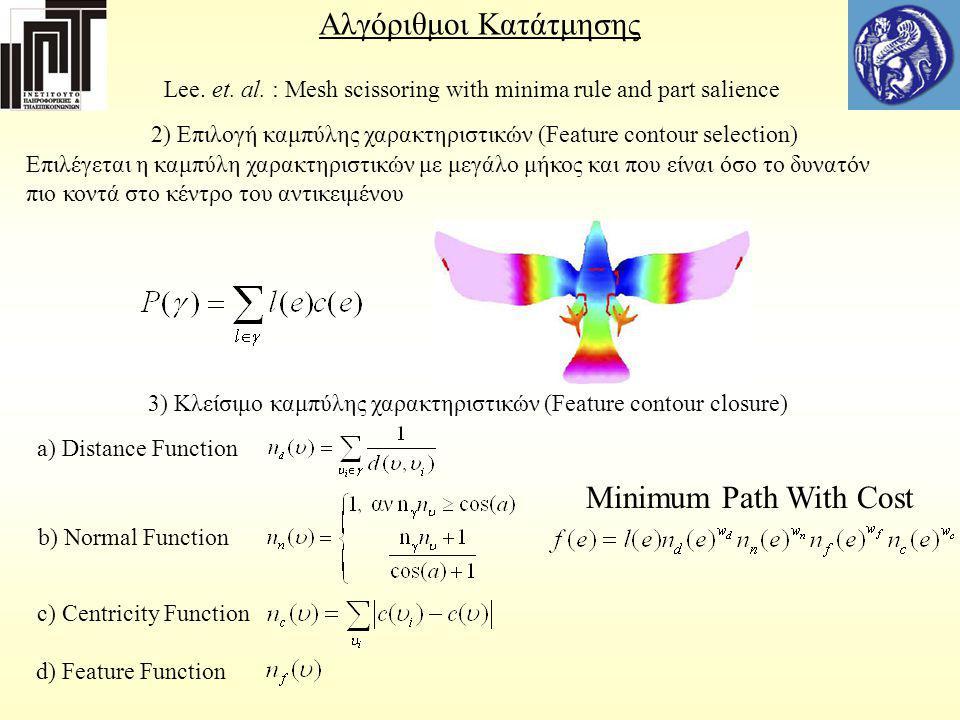 Αλγόριθμοι Κατάτμησης Lee. et. al. : Mesh scissoring with minima rule and part salience 2) Επιλογή καμπύλης χαρακτηριστικών (Feature contour selection