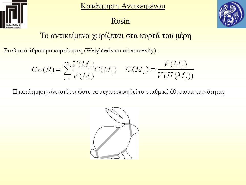 Κατάτμηση Αντικειμένου Rosin To αντικείμενο χωρίζεται στα κυρτά του μέρη Σταθμικό άθροισμα κυρτότητας (Weighted sum of convexity) : H κατάτμηση γίνετα