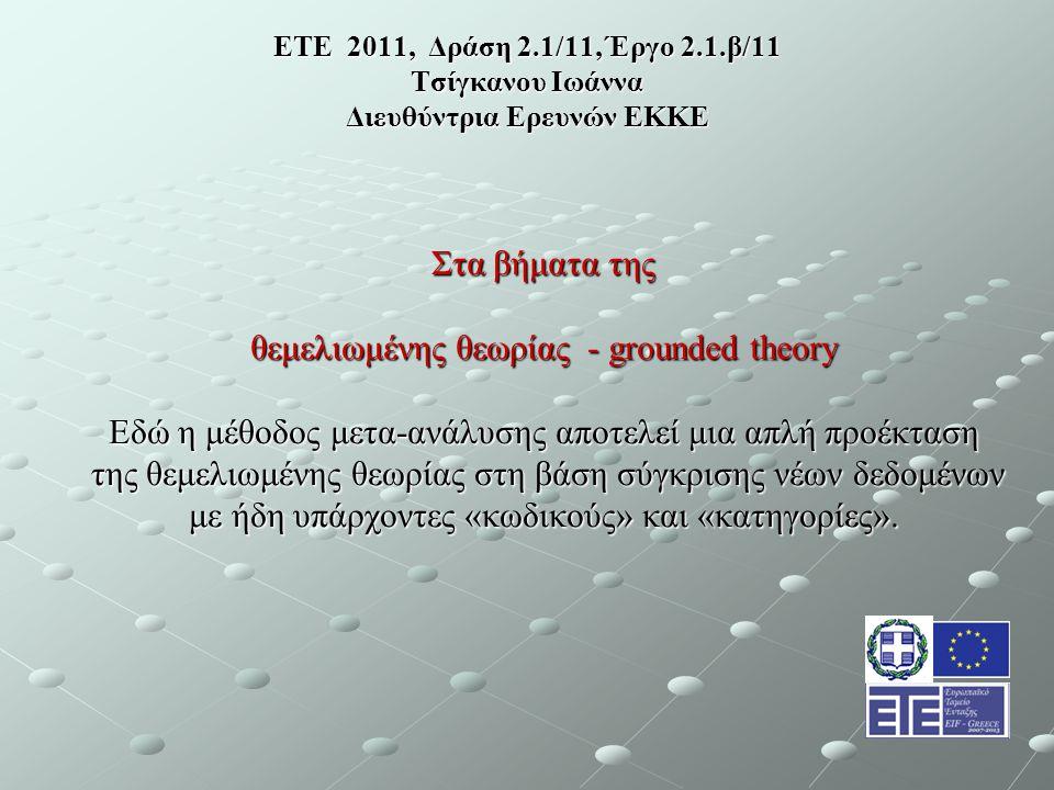 ΕΤΕ 2011, Δράση 2.1/11, Έργο 2.1.β/11 Τσίγκανου Ιωάννα Διευθύντρια Ερευνών ΕΚΚΕ Στα βήματα της θεμελιωμένης θεωρίας - grounded theory Εδώ η μέθοδος μετα-ανάλυσης αποτελεί μια απλή προέκταση της θεμελιωμένης θεωρίας στη βάση σύγκρισης νέων δεδομένων της θεμελιωμένης θεωρίας στη βάση σύγκρισης νέων δεδομένων με ήδη υπάρχοντες «κωδικούς» και «κατηγορίες».