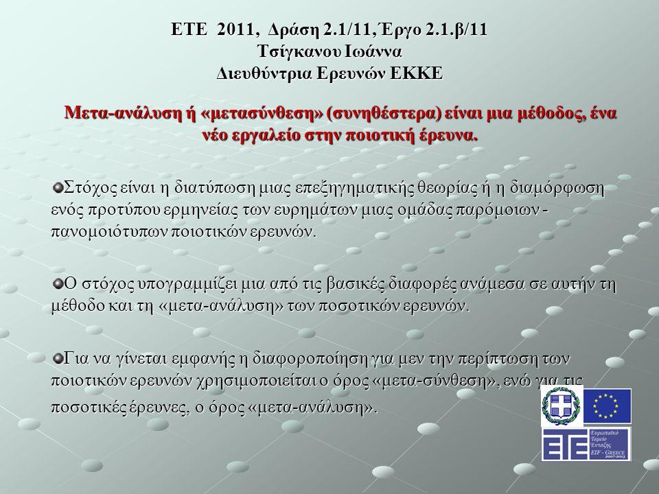 ΕΤΕ 2011, Δράση 2.1/11, Έργο 2.1.β/11 Τσίγκανου Ιωάννα Διευθύντρια Ερευνών ΕΚΚΕ Μετα-ανάλυση ή «μετασύνθεση» (συνηθέστερα) είναι μια μέθοδος, ένα νέο εργαλείο στην ποιοτική έρευνα.