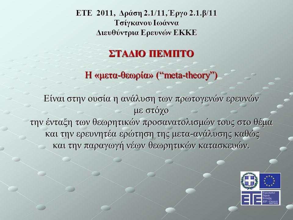 ΕΤΕ 2011, Δράση 2.1/11, Έργο 2.1.β/11 Τσίγκανου Ιωάννα Διευθύντρια Ερευνών ΕΚΚΕ ΣΤΑΔΙΟ ΠΕΜΠΤΟ Η «μετα-θεωρία» ( meta-theory ) Είναι στην ουσία η ανάλυση των πρωτογενών ερευνών με στόχο την ένταξη των θεωρητικών προσανατολισμών τους στο θέμα και την ερευνητέα ερώτηση της μετα-ανάλυσης καθώς και την ερευνητέα ερώτηση της μετα-ανάλυσης καθώς και την παραγωγή νέων θεωρητικών κατασκευών.