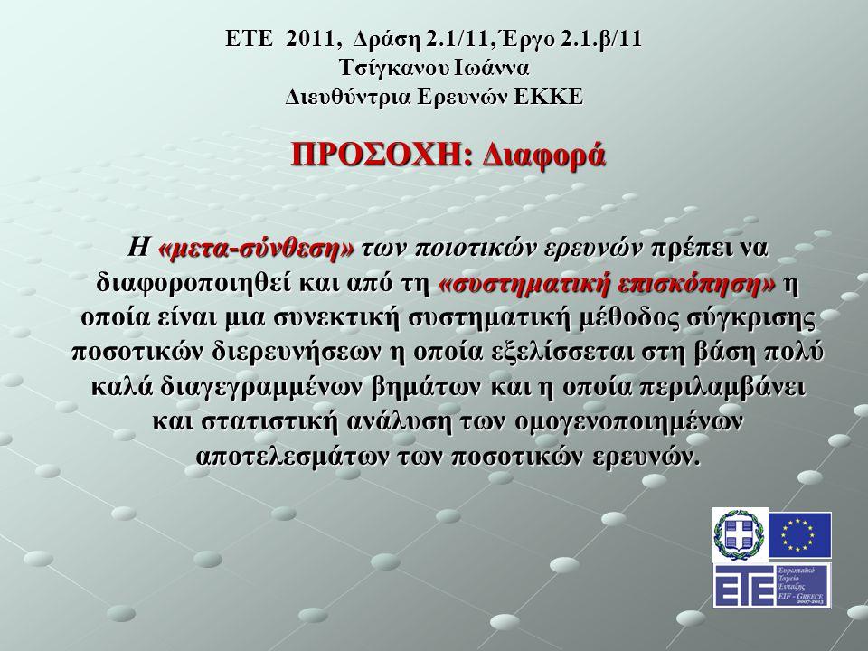 ΕΤΕ 2011, Δράση 2.1/11, Έργο 2.1.β/11 Τσίγκανου Ιωάννα Διευθύντρια Ερευνών ΕΚΚΕ ΠΡΟΣΟΧΗ: Διαφορά Η «μετα-σύνθεση» των ποιοτικών ερευνών πρέπει να διαφοροποιηθεί και από τη «συστηματική επισκόπηση» η οποία είναι μια συνεκτική συστηματική μέθοδος σύγκρισης ποσοτικών διερευνήσεων η οποία εξελίσσεται στη βάση πολύ καλά διαγεγραμμένων βημάτων και η οποία περιλαμβάνει και στατιστική ανάλυση των ομογενοποιημένων αποτελεσμάτων των ποσοτικών ερευνών.
