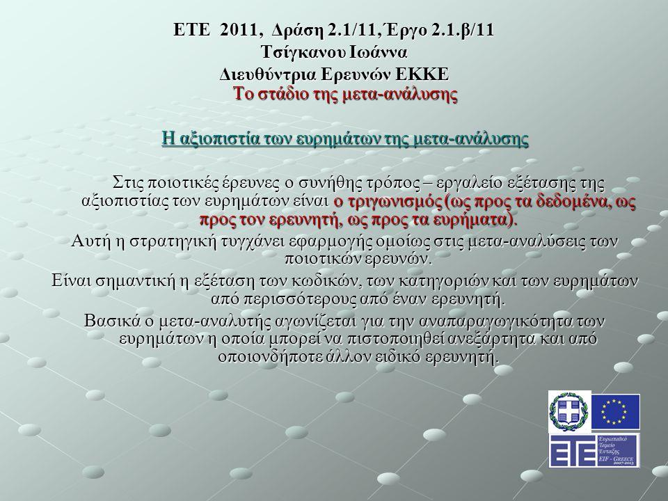 ΕΤΕ 2011, Δράση 2.1/11, Έργο 2.1.β/11 Τσίγκανου Ιωάννα Διευθύντρια Ερευνών ΕΚΚΕ Το στάδιο της μετα-ανάλυσης Η αξιοπιστία των ευρημάτων της μετα-ανάλυσης Στις ποιοτικές έρευνες ο συνήθης τρόπος – εργαλείο εξέτασης της αξιοπιστίας των ευρημάτων είναι ο τριγωνισμός (ως προς τα δεδομένα, ως προς τον ερευνητή, ως προς τα ευρήματα).