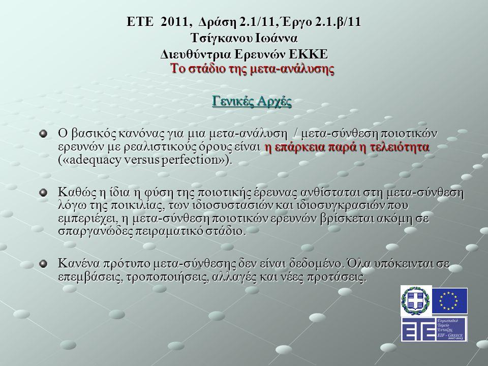 ΕΤΕ 2011, Δράση 2.1/11, Έργο 2.1.β/11 Τσίγκανου Ιωάννα Διευθύντρια Ερευνών ΕΚΚΕ Το στάδιο της μετα-ανάλυσης Γενικές Αρχές Ο βασικός κανόνας για μια μετα-ανάλυση / μετα-σύνθεση ποιοτικών ερευνών με ρεαλιστικούς όρους είναι η επάρκεια παρά η τελειότητα («adequacy versus perfection»).