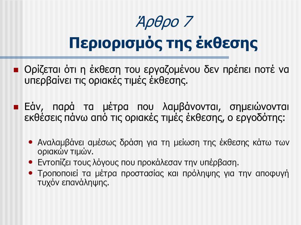 Άρθρο 7 Περιορισμός της έκθεσης  Ορίζεται ότι η έκθεση του εργαζομένου δεν πρέπει ποτέ να υπερβαίνει τις οριακές τιμές έκθεσης.  Εάν, παρά τα μέτρα