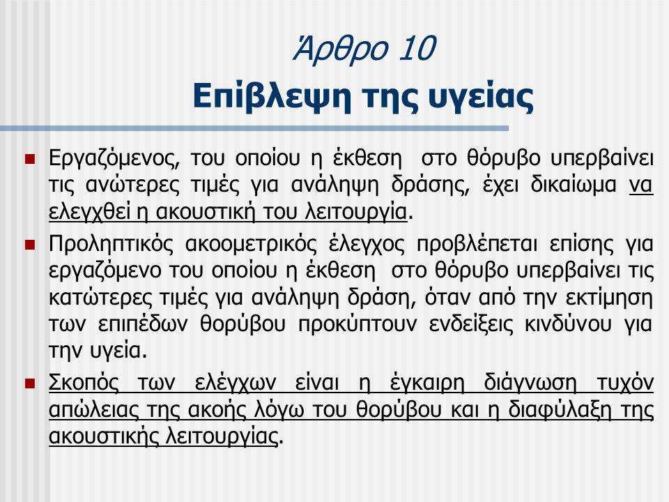 Άρθρο 10 Επίβλεψη της υγείας  Εργαζόμενος, του οποίου η έκθεση στο θόρυβο υπερβαίνει τις ανώτερες τιμές για ανάληψη δράσης, έχει δικαίωμα να ελεγχθεί