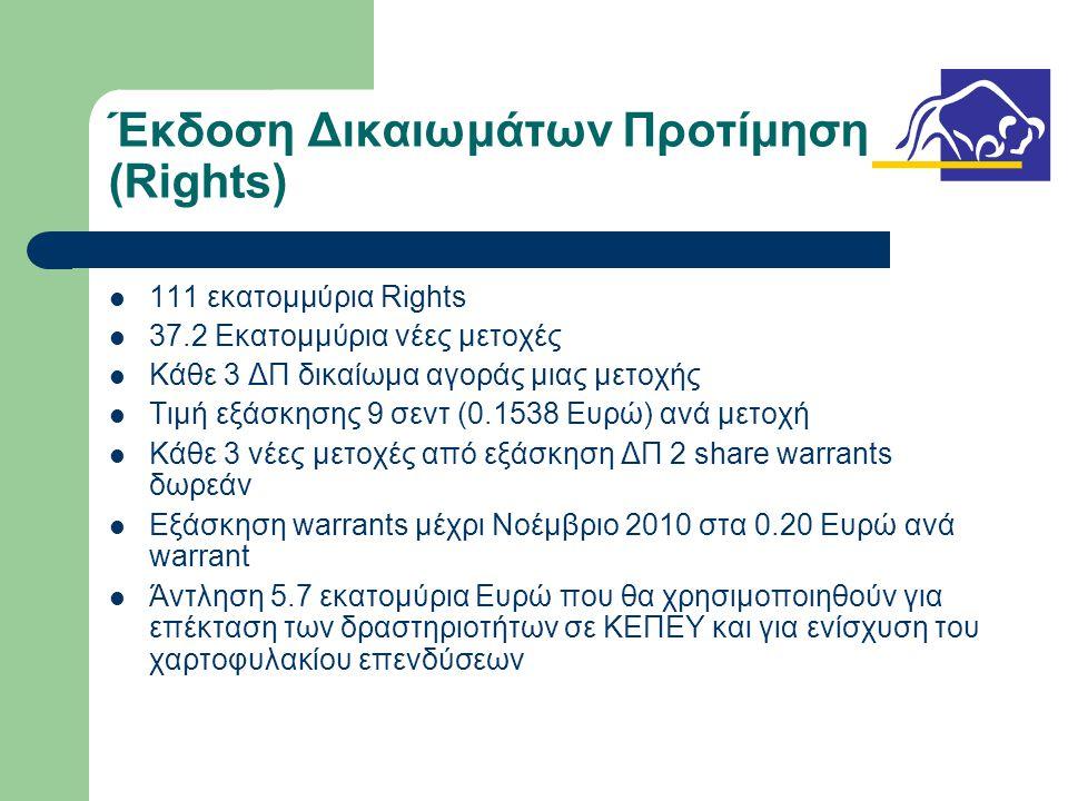 Έκδοση Δικαιωμάτων Προτίμησης (Rights)  111 εκατομμύρια Rights  37.2 Εκατομμύρια νέες μετοχές  Κάθε 3 ΔΠ δικαίωμα αγοράς μιας μετοχής  Τιμή εξάσκησης 9 σεντ (0.1538 Ευρώ) ανά μετοχή  Κάθε 3 νέες μετοχές από εξάσκηση ΔΠ 2 share warrants δωρεάν  Εξάσκηση warrants μέχρι Νοέμβριο 2010 στα 0.20 Ευρώ ανά warrant  Άντληση 5.7 εκατομύρια Ευρώ που θα χρησιμοποιηθούν για επέκταση των δραστηριοτήτων σε ΚΕΠΕΥ και για ενίσχυση του χαρτοφυλακίου επενδύσεων