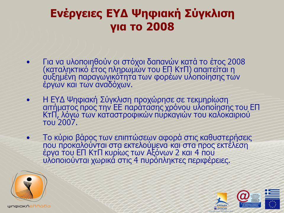 Ενέργειες ΕΥΔ Ψηφιακή Σύγκλιση για το 2008 •Για να υλοποιηθούν οι στόχοι δαπανών κατά το έτος 2008 (καταληκτικό έτος πληρωμών του ΕΠ ΚτΠ) απαιτείται η αυξημένη παραγωγικότητα των φορέων υλοποίησης των έργων και των αναδόχων.