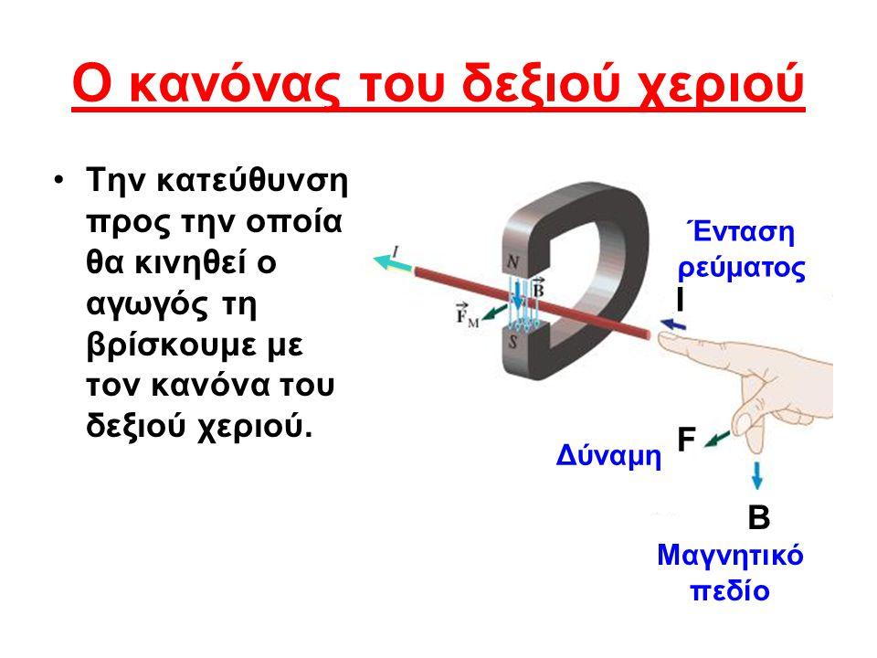 Ο κανόνας του δεξιού χεριού •Τ•Την κατεύθυνση προς την οποία θα κινηθεί ο αγωγός τη βρίσκουμε με τον κανόνα του δεξιού χεριού. Β F I Μαγνητικό πεδίο Δ