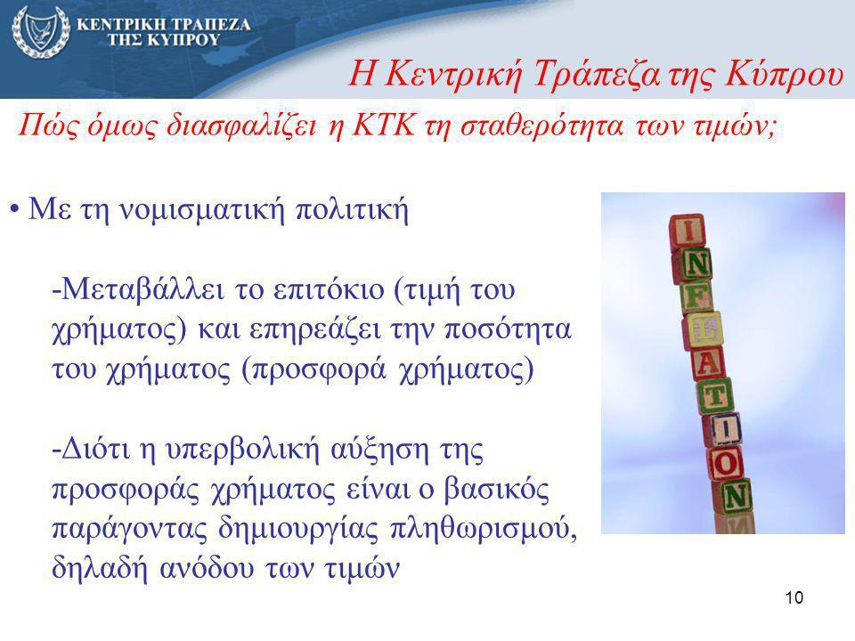 10 • Με τη νομισματική πολιτική -Μεταβάλλει το επιτόκιο (τιμή του χρήματος) και επηρεάζει την ποσότητα του χρήματος (προσφορά χρήματος) -Διότι η υπερβ