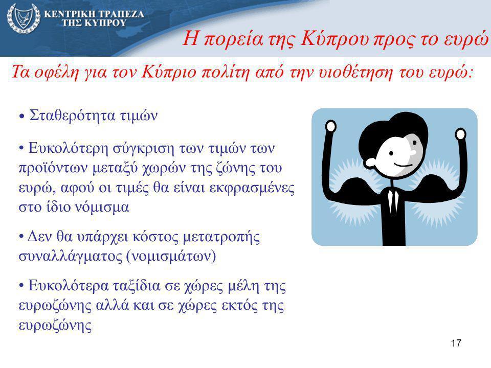 17 Η πορεία της Κύπρου προς το ευρώ • Σταθερότητα τιμών • Ευκολότερη σύγκριση των τιμών των προϊόντων μεταξύ χωρών της ζώνης του ευρώ, αφού οι τιμές θ