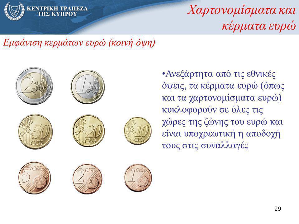 29 Εμφάνιση κερμάτων ευρώ (κοινή όψη) •Ανεξάρτητα από τις εθνικές όψεις, τα κέρματα ευρώ (όπως και τα χαρτονομίσματα ευρώ) κυκλοφορούν σε όλες τις χώρ
