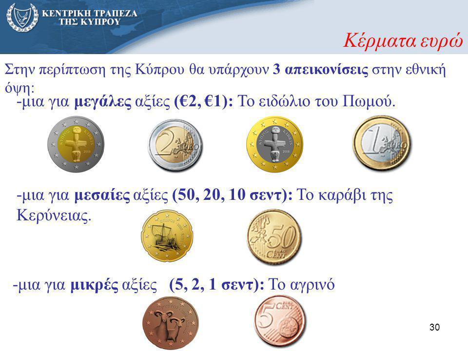 30 Στην περίπτωση της Κύπρου θα υπάρχουν 3 απεικονίσεις στην εθνική όψη: -μια για μικρές αξίες (5, 2, 1 σεντ): Το αγρινό -μια για μεσαίες αξίες (50, 2