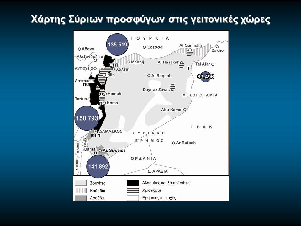 Χάρτης Σύριων προσφύγων στις γειτονικές χώρες