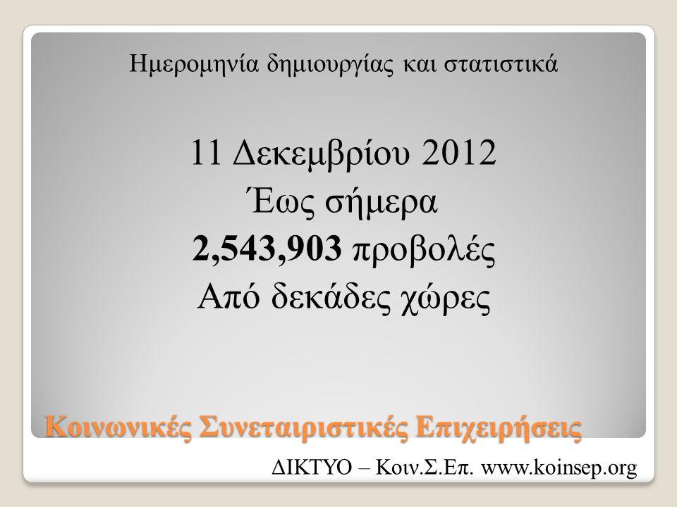 Κοινωνικές Συνεταιριστικές Επιχειρήσεις Ημερομηνία δημιουργίας και στατιστικά 11 Δεκεμβρίου 2012 Έως σήμερα 2,543,903 προβολές Από δεκάδες χώρες ΔΙΚΤΥ